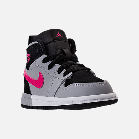 Three Quarter view of Girls' Toddler Jordan Retro 1 High Basketball Shoes in Black/Deadly Pink/Wolf Grey/White