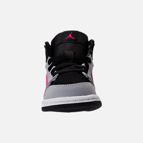 Front view of Girls' Toddler Jordan Retro 1 High Basketball Shoes in Black/Deadly Pink/Wolf Grey/White