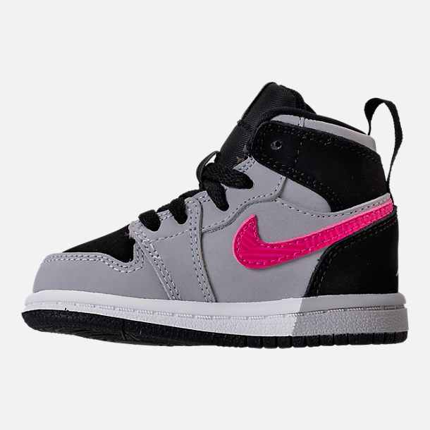 Left view of Girls' Toddler Jordan Retro 1 High Basketball Shoes in Black/Deadly Pink/Wolf Grey/White
