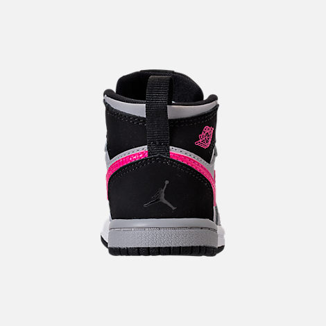 Back view of Girls' Toddler Jordan Retro 1 High Basketball Shoes in Black/Deadly Pink/Wolf Grey/White