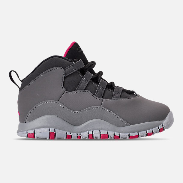 Right view of Girls' Toddler Jordan Retro 10 Basketball Shoes in Dark Smoke Grey/Rush Pink/Black/Iron