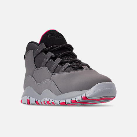 Three Quarter view of Girls' Toddler Jordan Retro 10 Basketball Shoes in Dark Smoke Grey/Rush Pink/Black/Iron