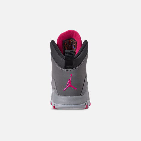 Back view of Girls' Toddler Jordan Retro 10 Basketball Shoes in Dark Smoke Grey/Rush Pink/Black/Iron