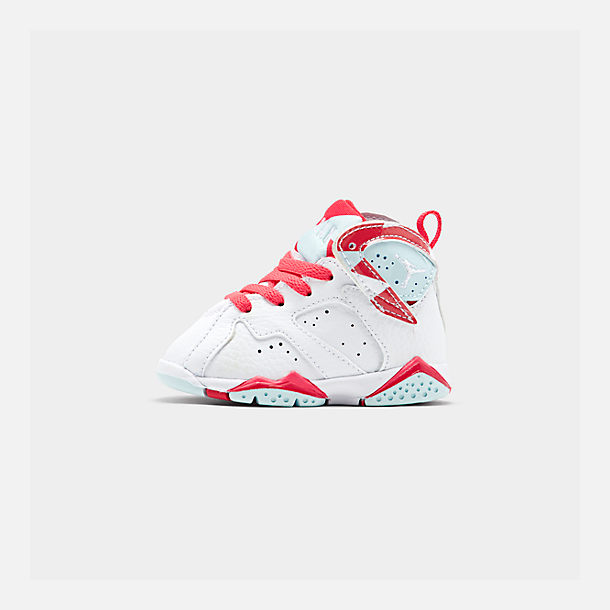 buy popular 0c86c d5843 Right view of Girls  Toddler Air Jordan Retro 7 Basketball Shoes in  White White