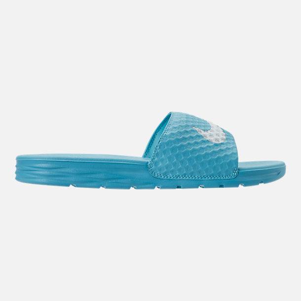 Right view of Women's Nike Benassi Solarsoft 2 Slide Sandals in Chlorine Blue/Glacier Blue