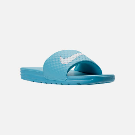 Three Quarter view of Women's Nike Benassi Solarsoft 2 Slide Sandals in Chlorine Blue/Glacier Blue