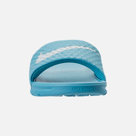 Front view of Women's Nike Benassi Solarsoft 2 Slide Sandals in Chlorine Blue/Glacier Blue