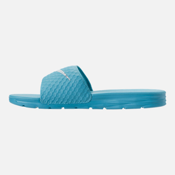 Left view of Women's Nike Benassi Solarsoft 2 Slide Sandals in Chlorine Blue/Glacier Blue