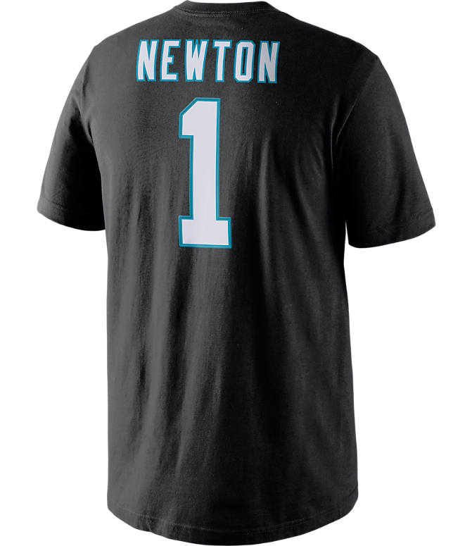 Front view of Men's Nike Carolina Panthers NFL Cam Newton Name and Number T-Shirt in Black