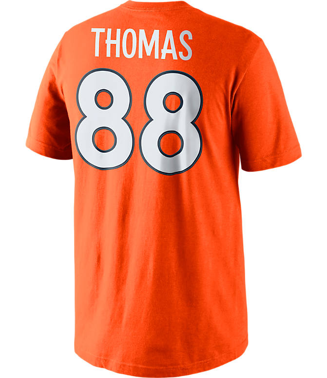 Front view of Men's Nike Denver Broncos NFL Demaryius Thomas Name and Number T-Shirt in Brill Orange