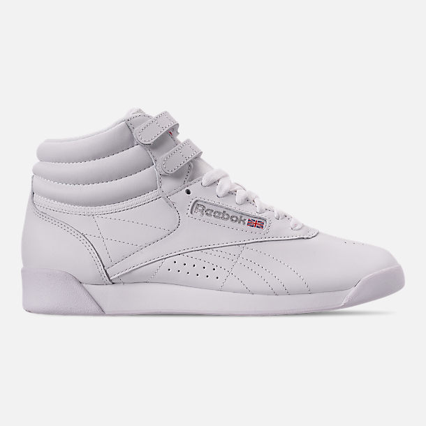 Right view of Women's Reebok Freestyle Hi Casual Shoes in White