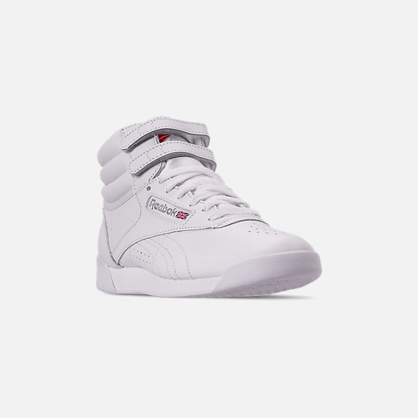 Three Quarter view of Women's Reebok Freestyle Hi Casual Shoes in White