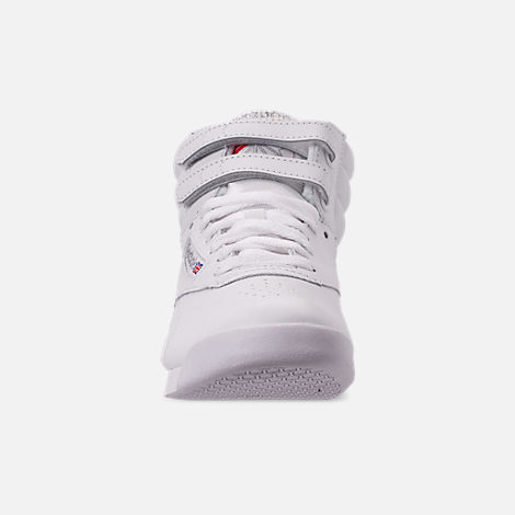 Front view of Women's Reebok Freestyle Hi Casual Shoes in White