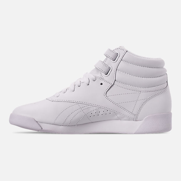 Left view of Women's Reebok Freestyle Hi Casual Shoes in White