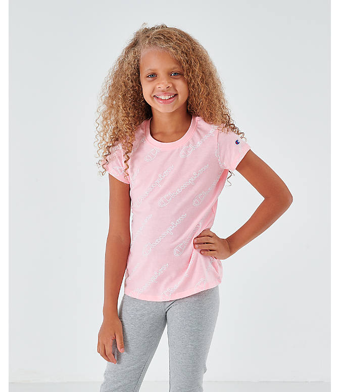 Front view of Girls' Champion Script Allover Print T-Shirt in Pink Candy