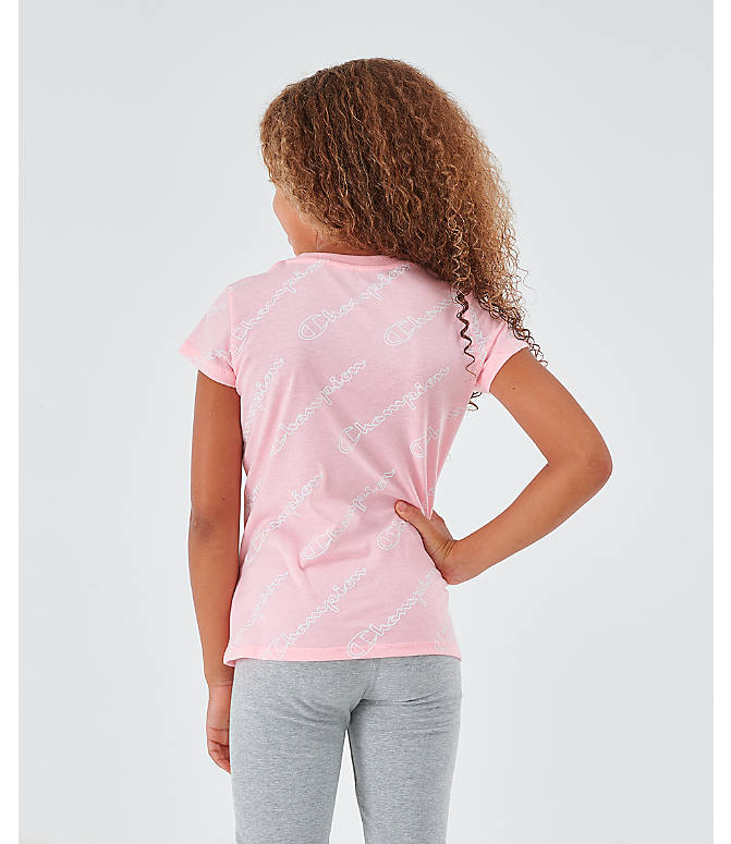 Back Left view of Girls' Champion Script Allover Print T-Shirt in Pink Candy