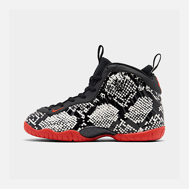 Right view of Little Kids' Nike Little Posite One Basketball Shoes in Sail/Habanero Red/Black