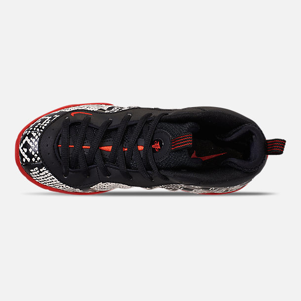 Top view of Little Kids' Nike Little Posite One Basketball Shoes in Sail/Habanero Red/Black