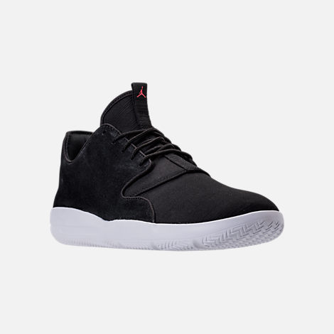 Three Quarter view of Men's Jordan Eclipse Suede Off-Court Shoes in Black Suede