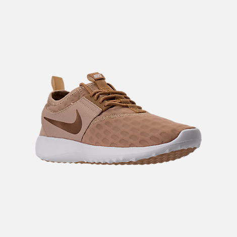Three Quarter view of Women's Nike Juvenate Casual Shoes in Mushroom/Elemental Gold/Summit White