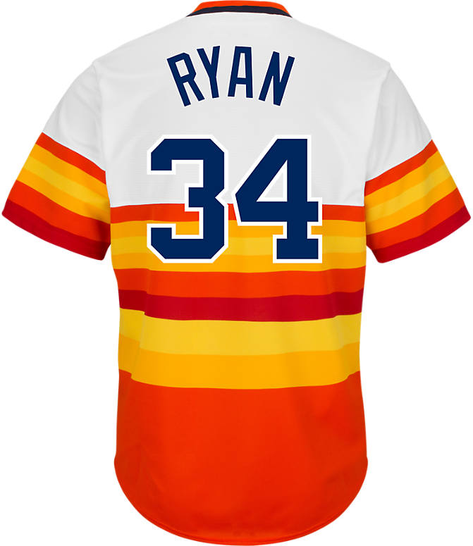 Front view of Men's Majestic Houston Astros MLB Nolan Ryan Cooperstown Jersey in White/Orange/Gold