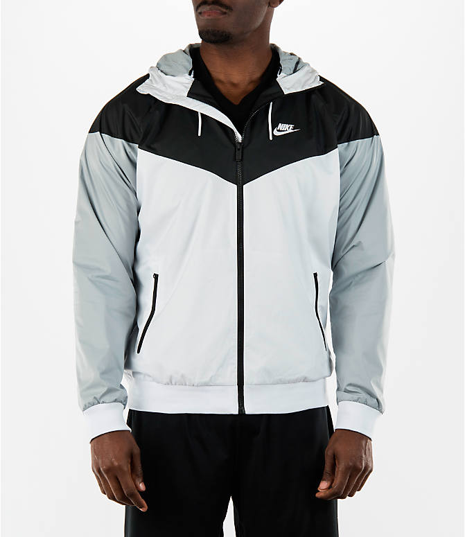 Front view of Men's Nike Sportswear Windrunner Full-Zip Jacket in White