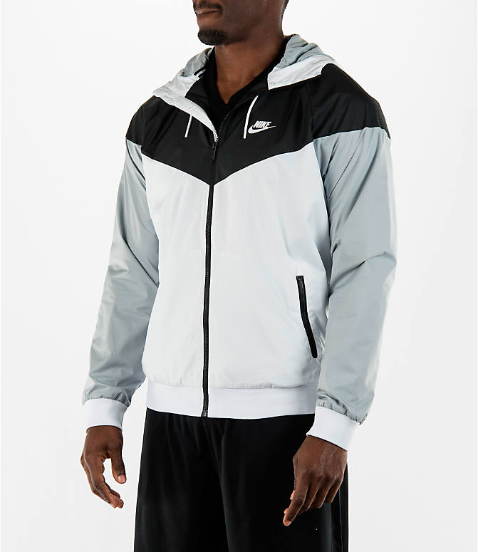 Front Three Quarter view of Men's Nike Sportswear Windrunner Full-Zip Jacket in White