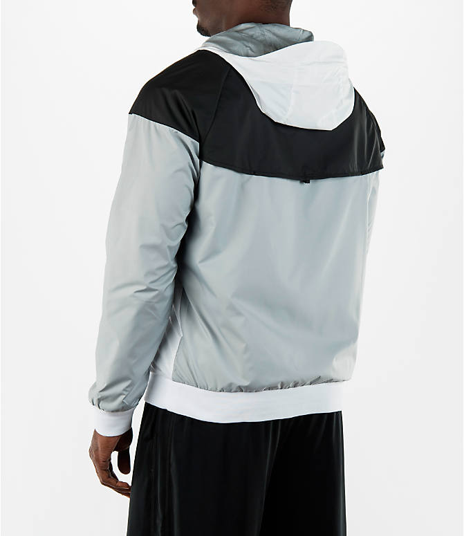 Back Left view of Men's Nike Sportswear Windrunner Full-Zip Jacket in White