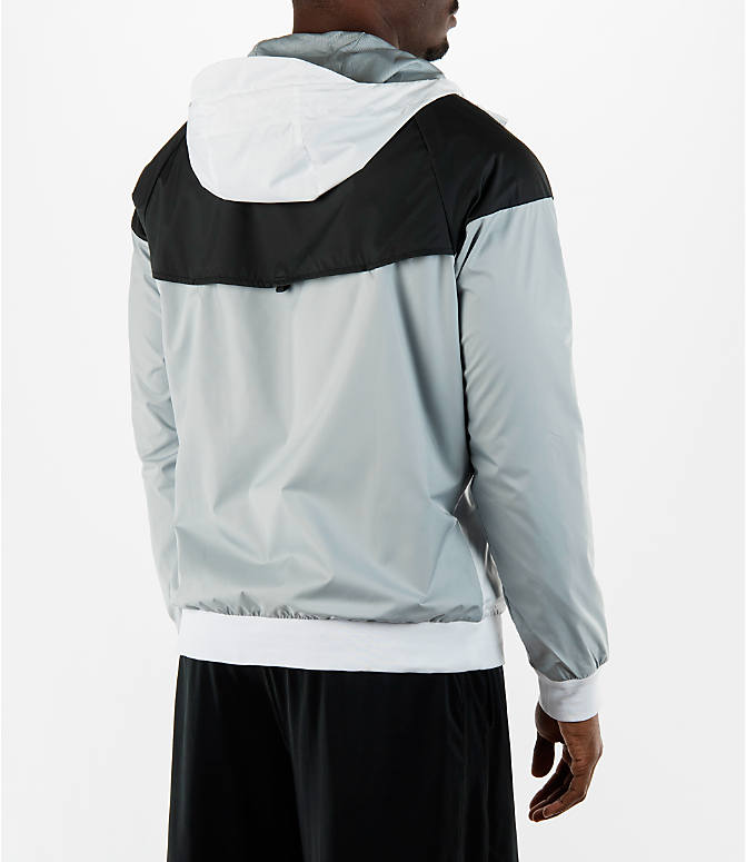 Back Right view of Men's Nike Sportswear Windrunner Full-Zip Jacket in White