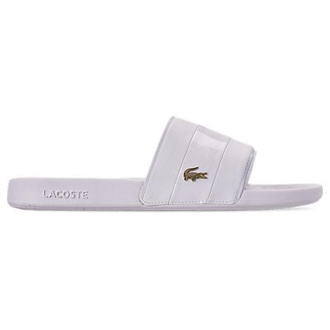 Lacoste LACOSTE MEN'S FRAISIER LEATHER SLIDE SANDALS IN WHITE SIZE 7.0