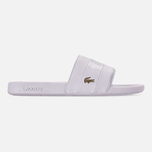 Right view of Men's Lacoste Fraisier Leather Slide Sandals in White/Gold