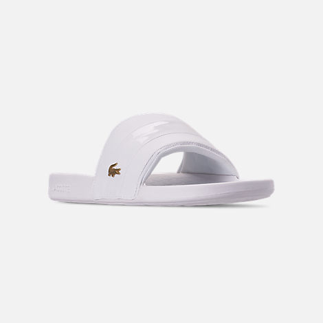 Three Quarter view of Men's Lacoste Fraisier Leather Slide Sandals in White/Gold