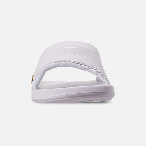 Front view of Men's Lacoste Fraisier Leather Slide Sandals in White/Gold