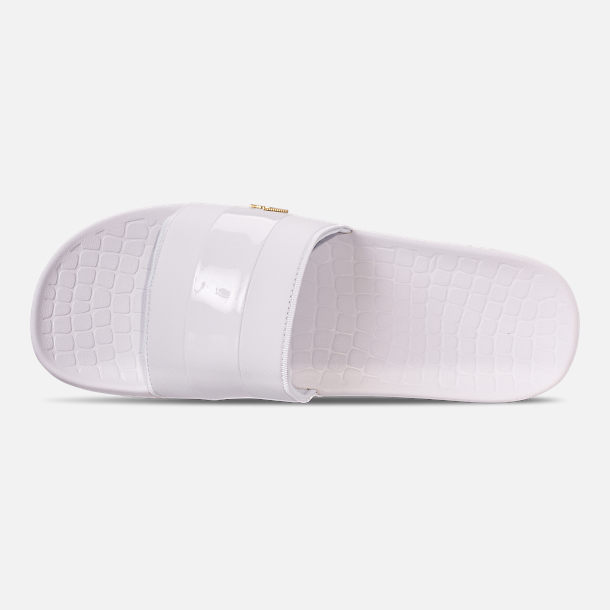Top view of Men's Lacoste Fraisier Leather Slide Sandals in White/Gold