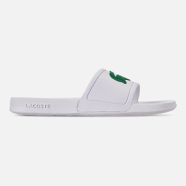 Right view of Men's Lacoste Fraisier Slide Sandals in White/Green