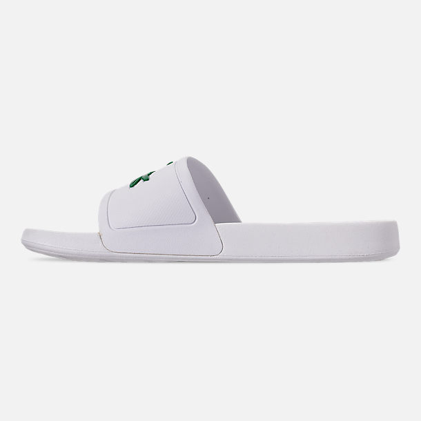 Left view of Men's Lacoste Fraisier Slide Sandals in White/Green