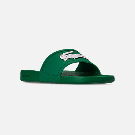 Three Quarter view of Men's Lacoste Fraisier Slide Sandals in Green/White
