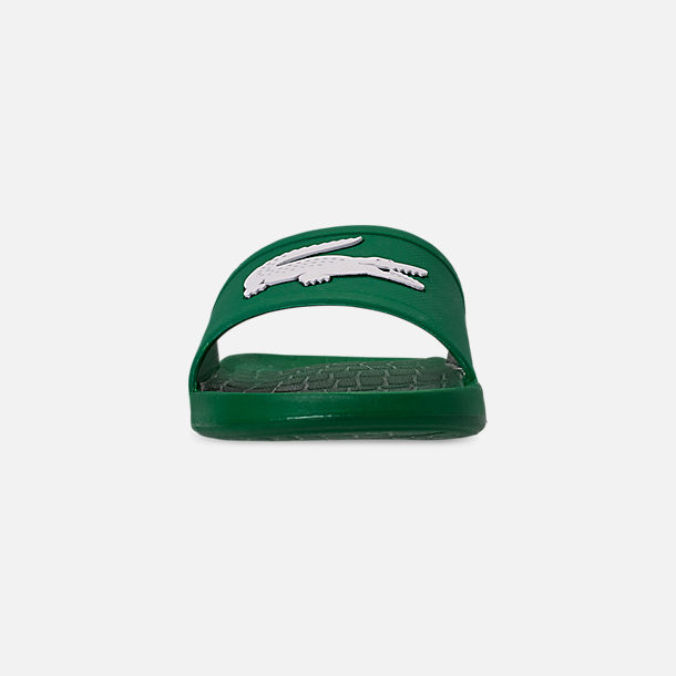 Front view of Men's Lacoste Fraisier Slide Sandals in Green/White