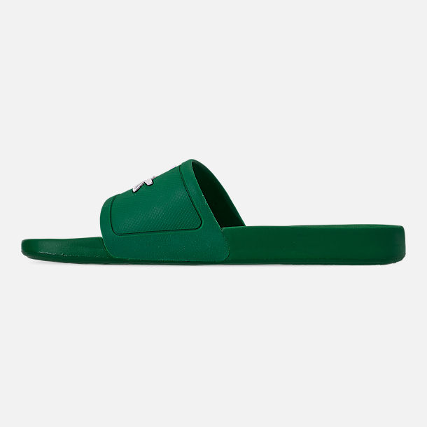 Left view of Men's Lacoste Fraisier Slide Sandals in Green/White