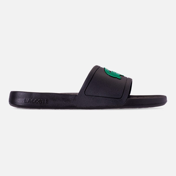 2284bc28f3cbc Right view of Men s Lacoste Fraisier Slide Sandals in Black Green