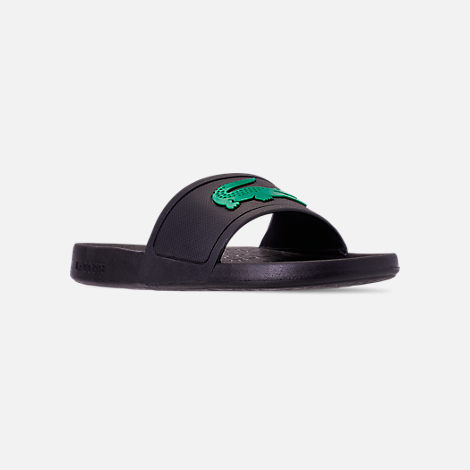 Three Quarter view of Men's Lacoste Fraisier Slide Sandals in Black/Green