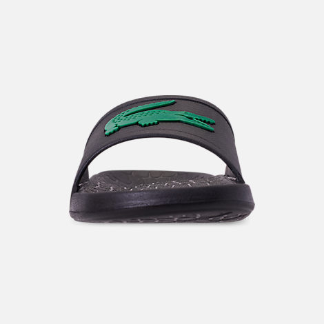 Front view of Men's Lacoste Fraisier Slide Sandals in Black/Green