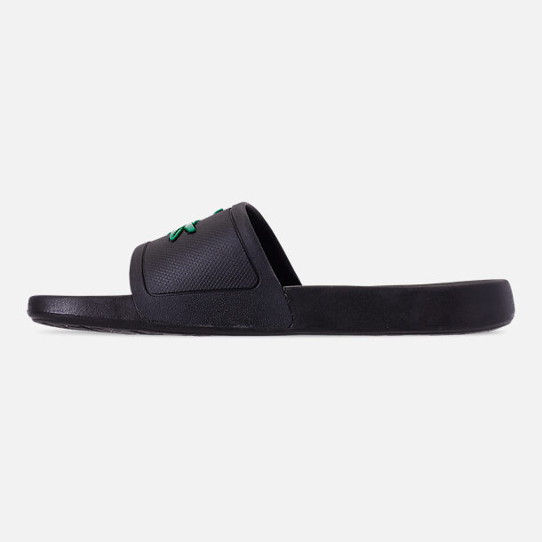 Left view of Men's Lacoste Fraisier Slide Sandals in Black/Green