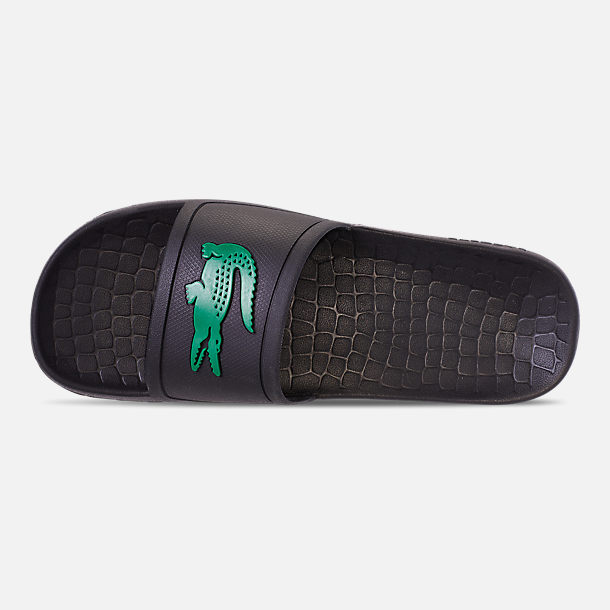 Top view of Men's Lacoste Fraisier Slide Sandals in Black/Green