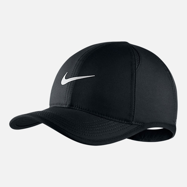 Front view of Kids' Nike AeroBill Featherlight Adjustable Hat in Black/White