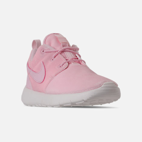 Three Quarter view of Girls' Preschool Nike Roshe One Casual Shoes in Arctic Pink/Arctic Pink/Sail