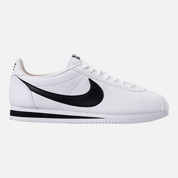 Right view of Men's Nike Classic Cortez Leather Casual Shoes in White/Black
