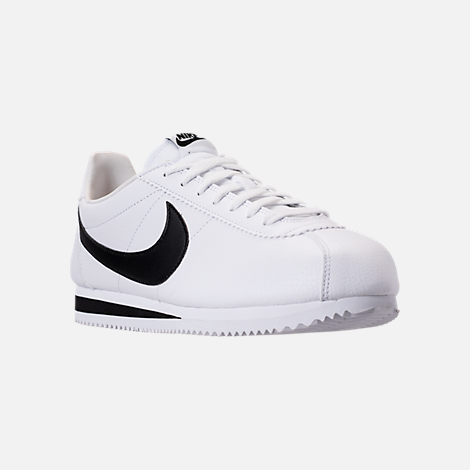 Three Quarter view of Men's Nike Classic Cortez Leather Casual Shoes in White/Black
