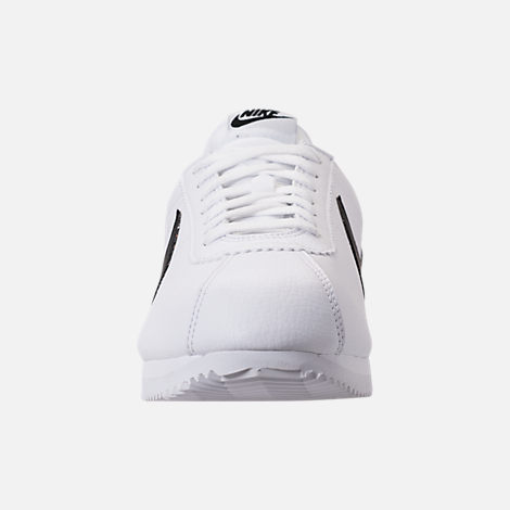 Front view of Men's Nike Classic Cortez Leather Casual Shoes in White/Black