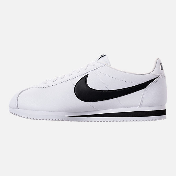 Left view of Men's Nike Classic Cortez Leather Casual Shoes in White/Black